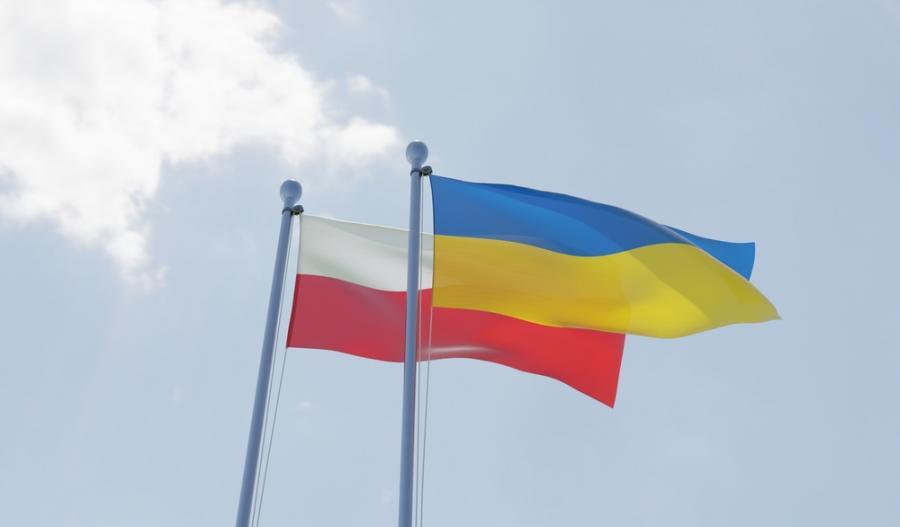 Flagi Polski i Ukrainy