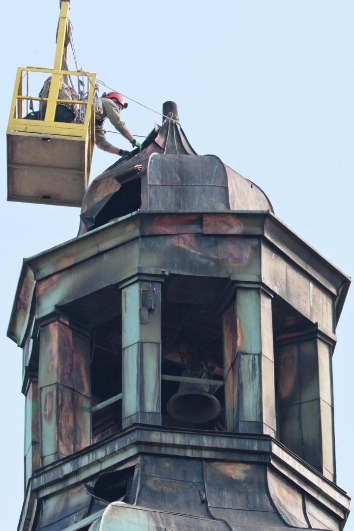 Demontaż kopuły wieży kościoła Katedralnego w Gorzowie Wielkopolskim,