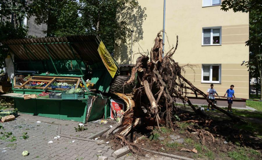 Zniszczenia po burzy na warszawskiej Woli