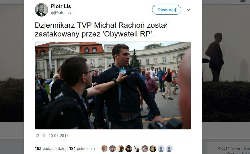 Michał Rachoń zaatakowany podczas kontrmanifestacji smoleńskiej / screenshot Twitter z profilu @Piotr_Lis_