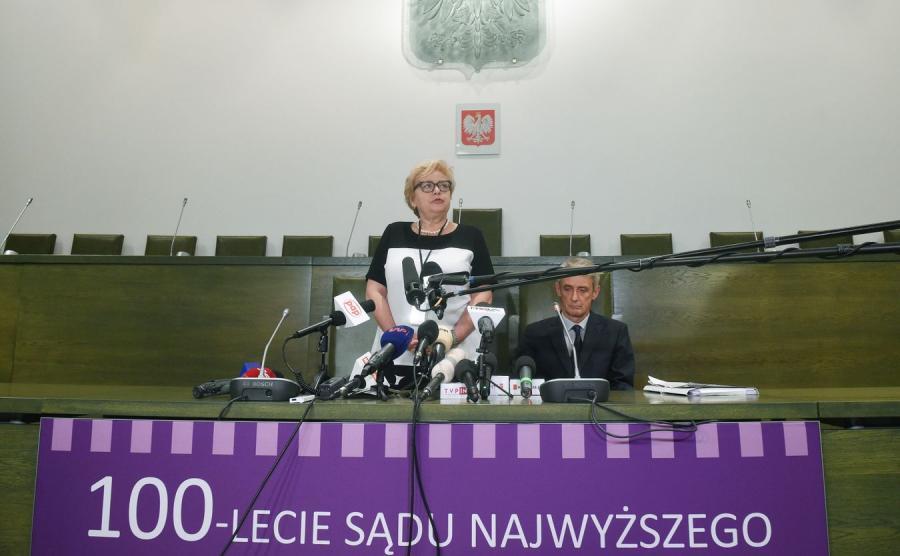 I prezes Sądu Najwyższego Małgorzata Gersdorf i rzecznik prasowy SN sędzia Michał Laskowski
