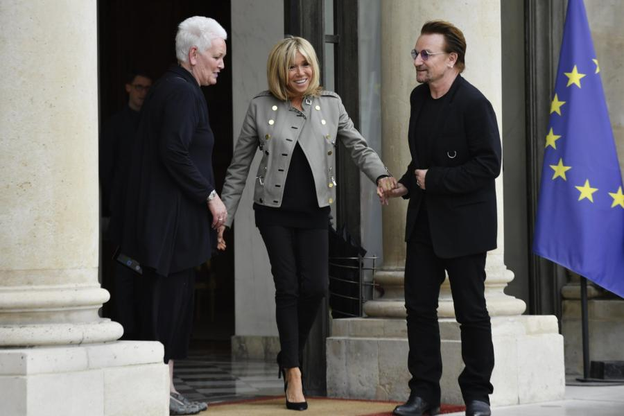 Pierwsza Dama Francji Brigitte Macron i Bono