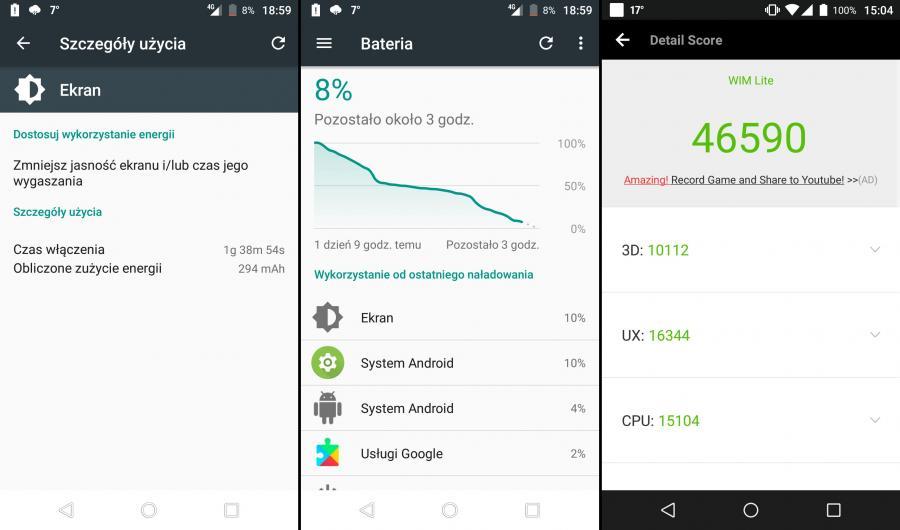 Wiko WIM Lite - czas pracy na baterii, AnTuTu Benchmark