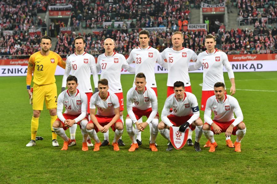 Piłkarska reprezentacja Polski przed rozpoczęciem towarzyskiego meczu z Nigerią
