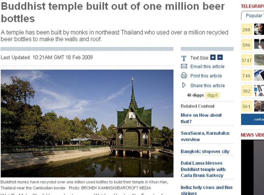 Wybudowali świątynię z butelek po piwie