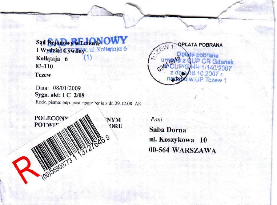 Suka Dorna dostaje pisma z sądu
