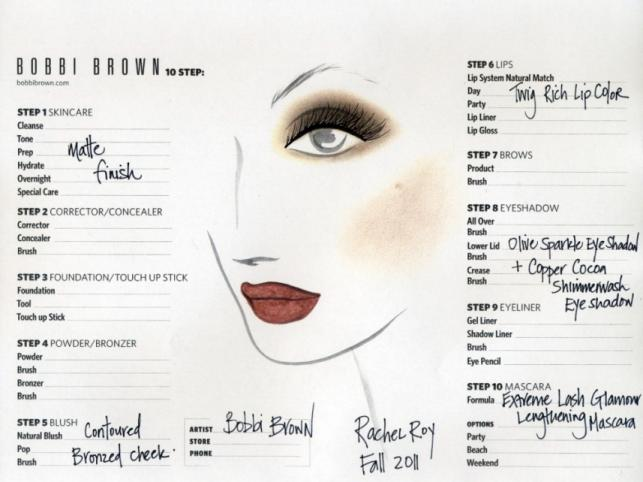 Face chart - makijaż Bobbi Brown dla Rachel Roy w stylu Earth Tones na New York Fashion Week Autumn/Winter 2011