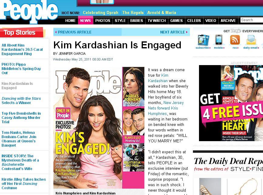 O zaręczynach pięknej Kim poinformował magazyn \