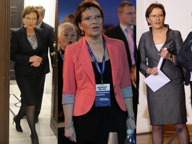 """Ewa Kopacz w różnych wersjach """"służbowego uniformu""""."""