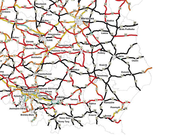 Mapa ryzyka indywidualnego - Polska południowo-wschodnia/źródło EuroRAP