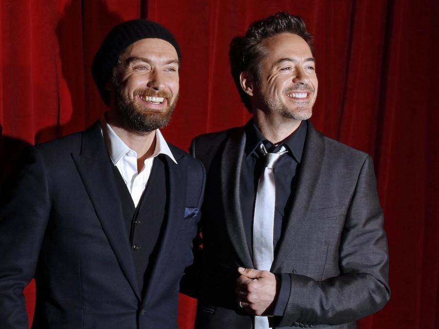 Robert Downey Jr. i Jude Law na premierze Holmesa