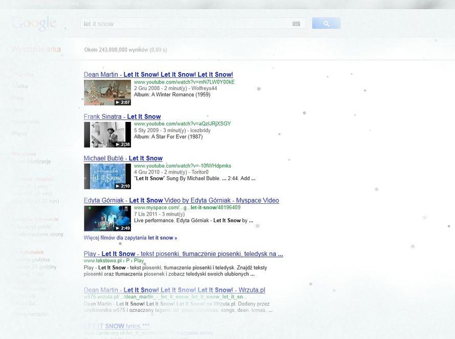 Zimowy prezent od Google - śnieg