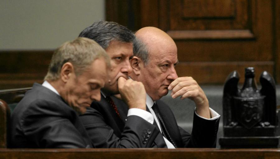 Donald Tusk, Janusz Piechociński i Jacek Rostowski w Sejmie