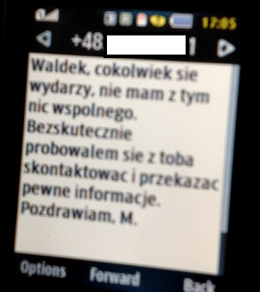 SMS wysłany do Waldemara Skrzypczaka