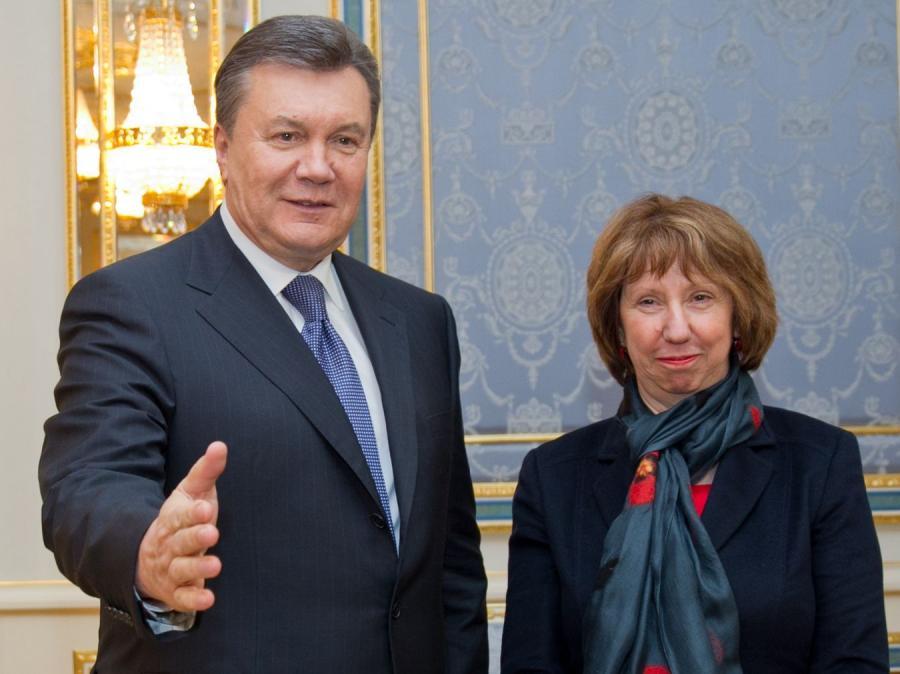 Wiktor Janukowycz i Catherine Ashton