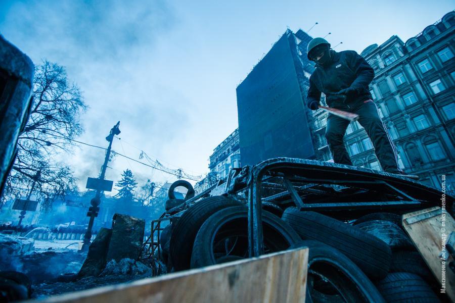 Kijów Majdan Hruszczewskiego barykady Berkut