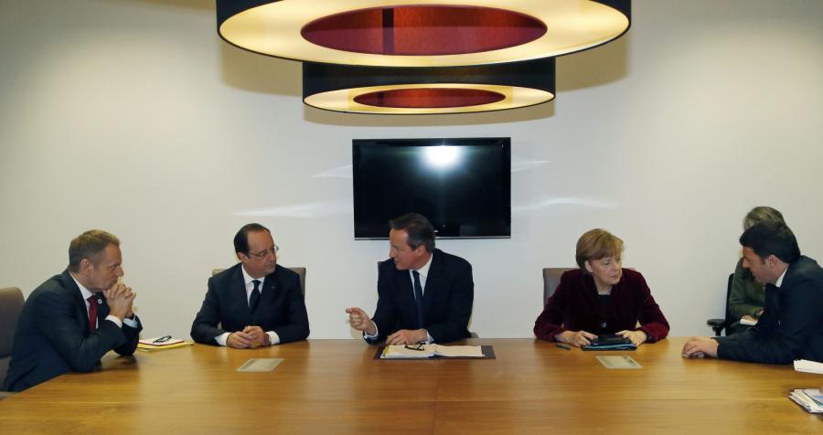 Szczyt Unii Europejskiej: Donald Tusk, Francois Hollande, David Cameron, Angela Merkel, Matteo Renzi