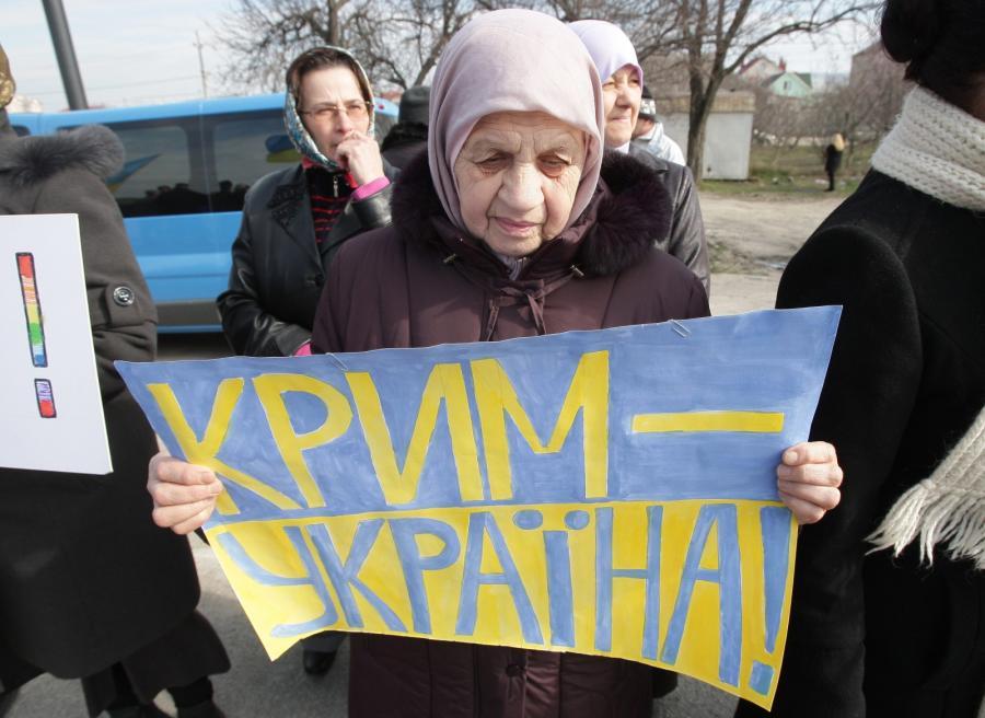 Demonstracja w Symferopolu na Krymie