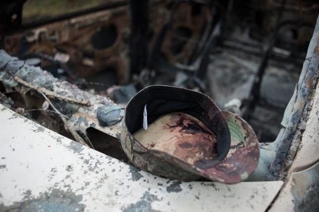 Miejsce walki na wschodzie Ukrainy, niedaleko Słowiańska