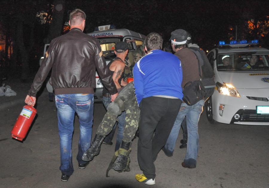 Pomoc rannym w pożarze w Odessie