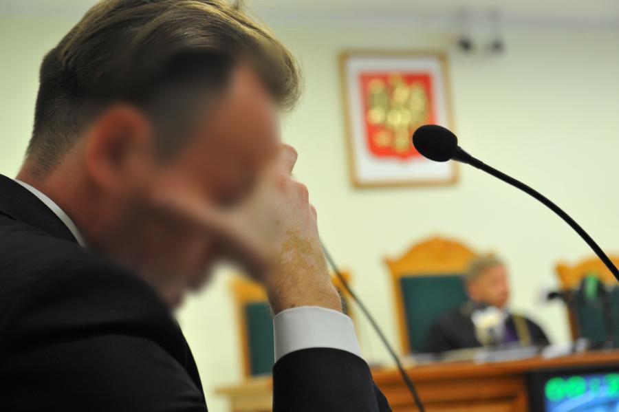 Marcin K. na sali sądowej w Koszalinie