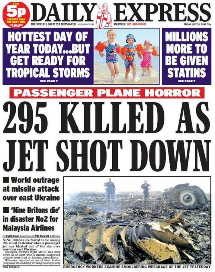 Okładki brytyjskich gazet po zestrzeleniu samolotu pasażerskiego MH17