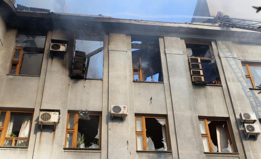 Zniszczony budynek w mieście Gorłówka