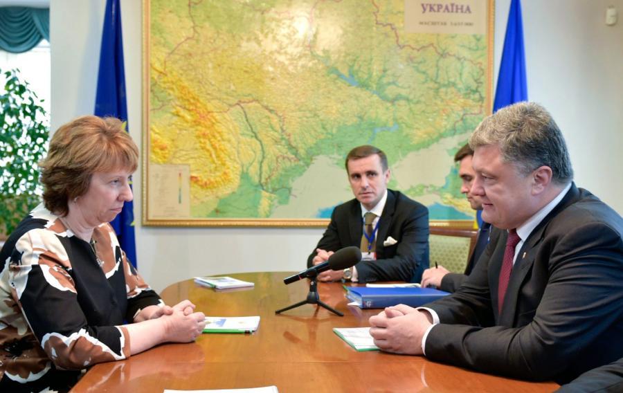 Petro Poroszenko na spotkaniu z Catherine Ashton