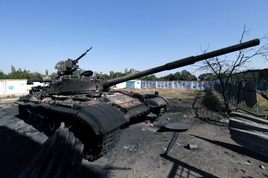 Ukraiński czołg pod Mariupolem