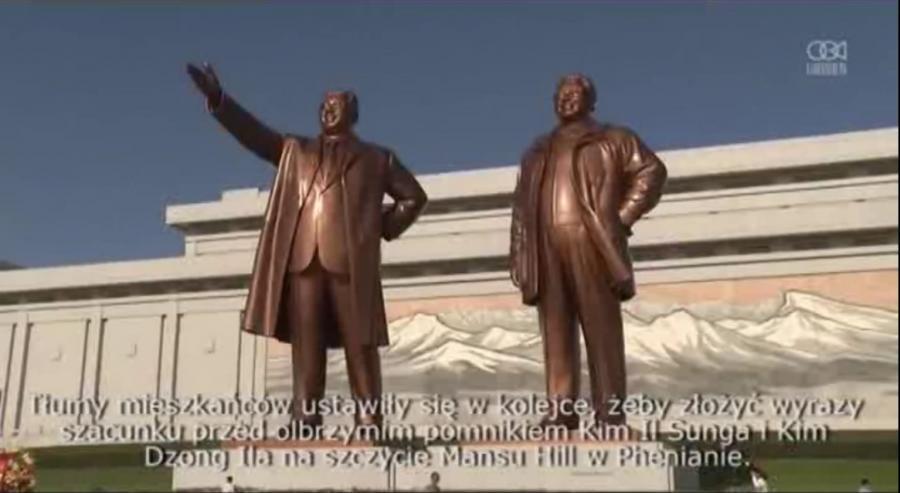 Kim Il Sung i Kim Dzong Il na szczycie Mansu Hill w Phenianie