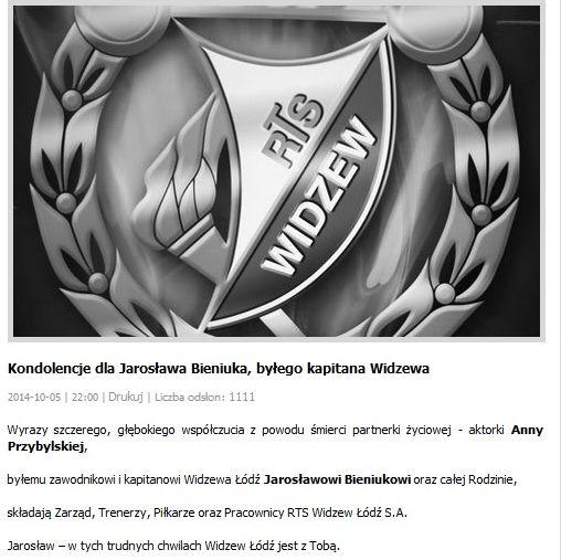 Kondolencje dla Jarosława Bieniuka