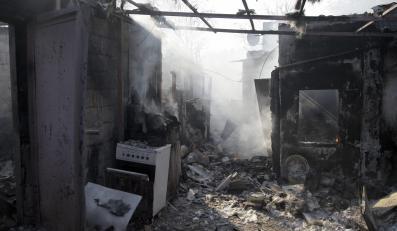 Zniszczony budynek w Doniecku