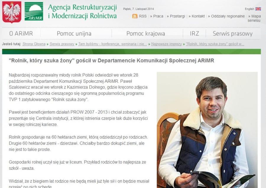 Paweł Szakiewicz na stronie ARiMR