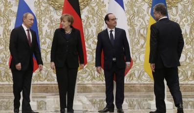 Petro Poroszenko, Angela Merkel, Francs Hollande, Władimir Putin