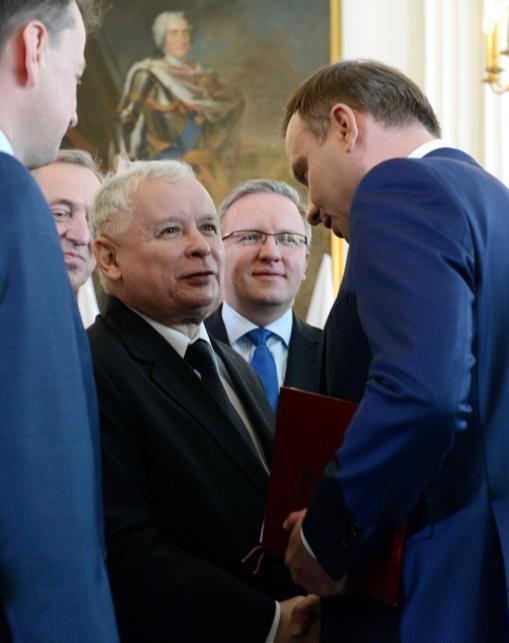 Andrzej Duda, prezes PiS Jarosław Kaczyński i poseł PiS Krzysztof Szczerski podczas uroczystości