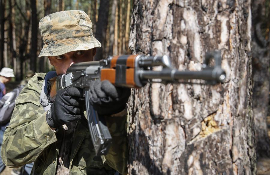 Wojskowy trening mieszkańców Kijowa