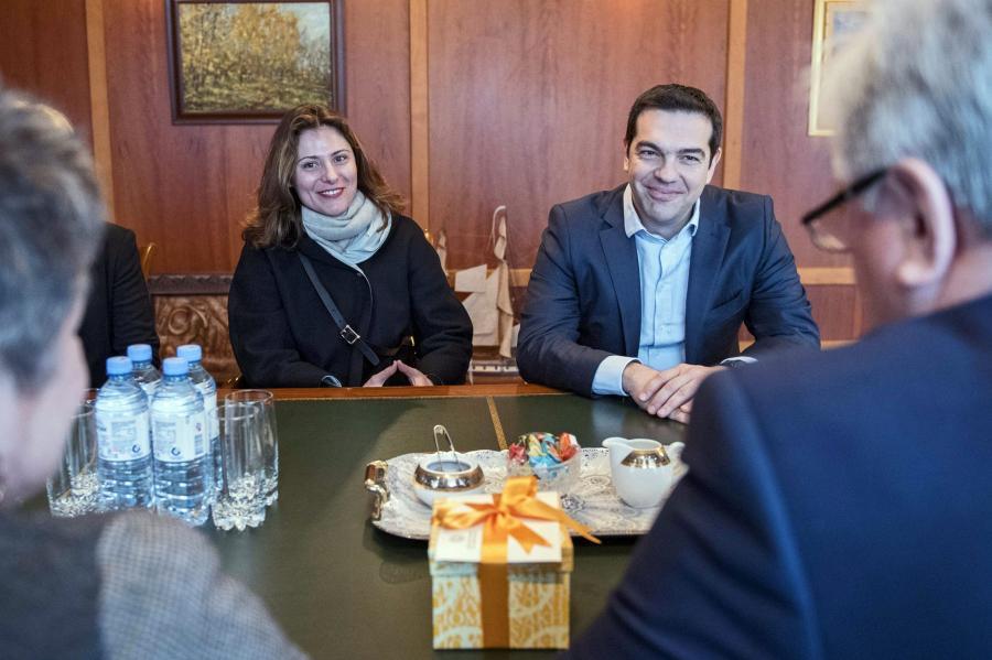 Premier Grecji Aleksis Tsipras i jego życiowa partnerka Betty Batziana