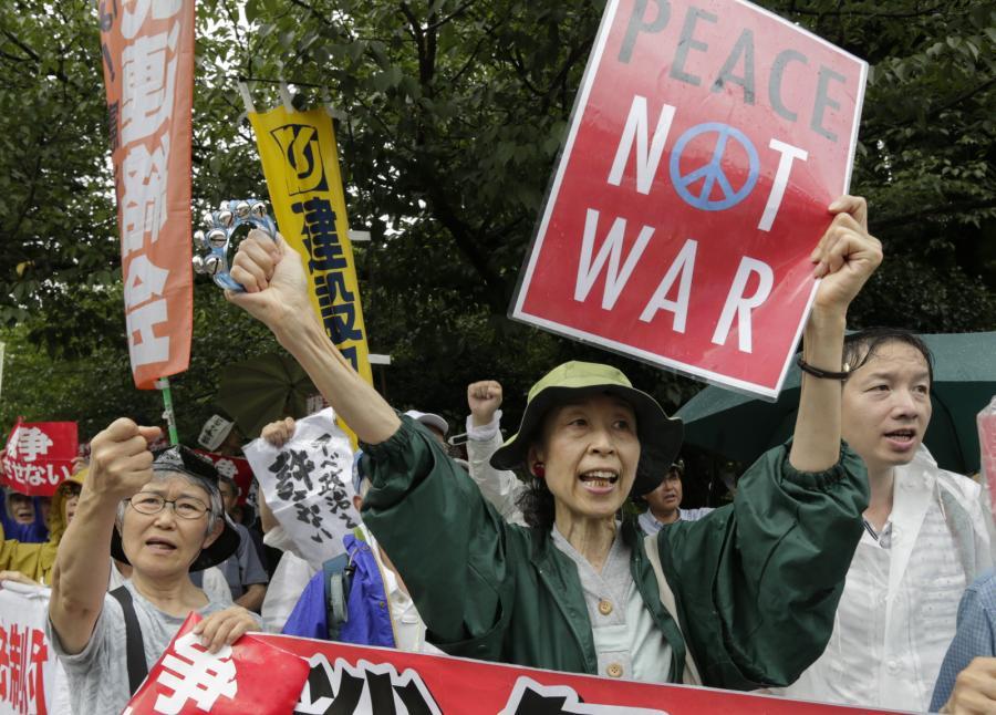 Demonstracja w Japonii przeciwko ustawie rozszerzającej możliwości działań sił samoobrony za granicą