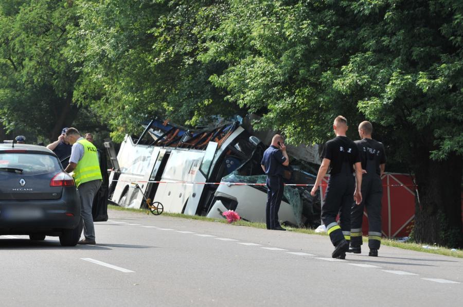 Wypadek ukraińskiego autokaru na obwodnicy Garwolina