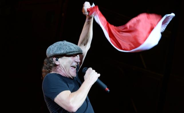 Brian Johnson podczas koncertu AC/DC w Warszawie