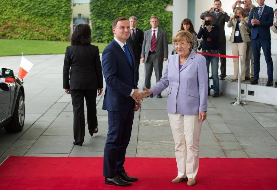 Kanclerz Angela Merkel i prezydent Andrzej Duda