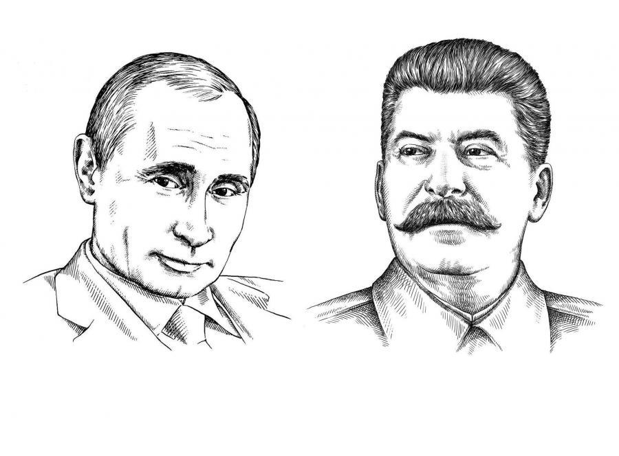 Rosyjscy przywódcy naszkicowani: Władimir Putin i Józef Stalin