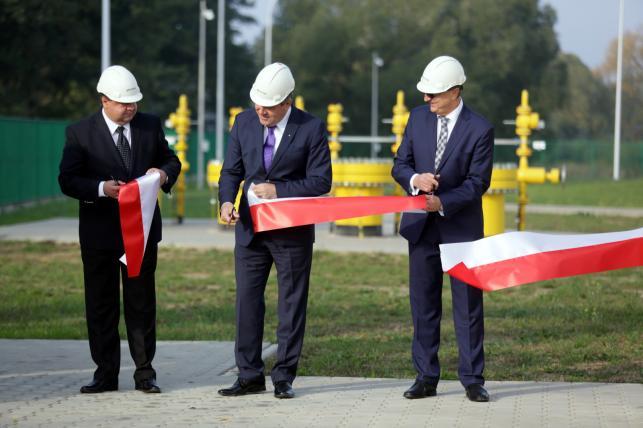 Wicepremier i minister gospodarki Janusz Piechociński podczas uroczystości otwarcia gazociągu Rembelszczyzna-Gustorzyn