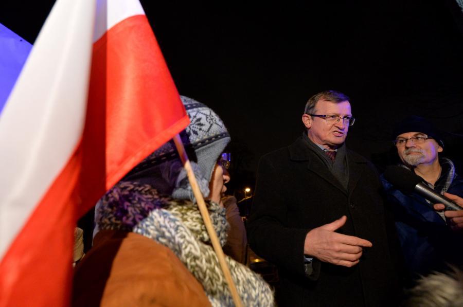 Tadeusz Cymański na demonstracji