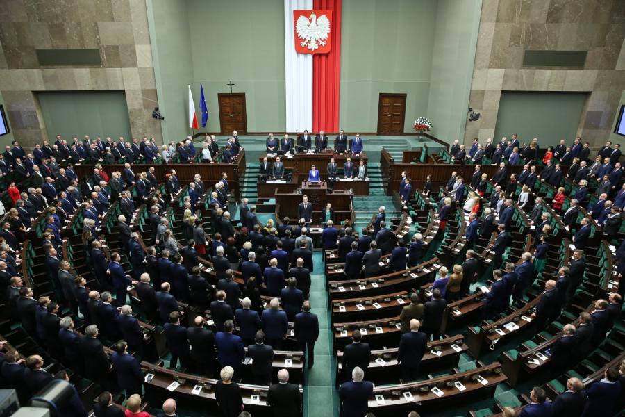 Widok na salę plenarną podczas uroczystego zgromadzenia posłów i senatorów
