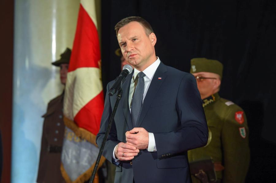 """Prezydent Andrzej Duda, podczas premiery filmu Jerzego Zalewskiego """"Historia Roja"""""""