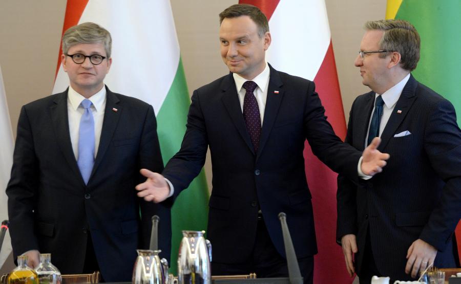 Paweł Soloch, prezydent Andrzej Duda i Krzysztof Szczerski