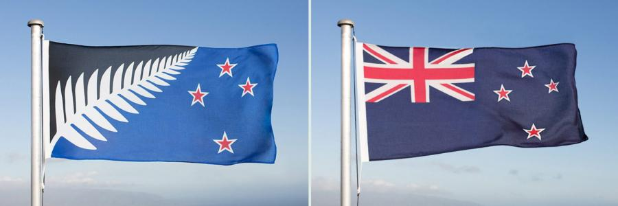 Proponowana flaga (z lewej) oraz obecna (z prawej)