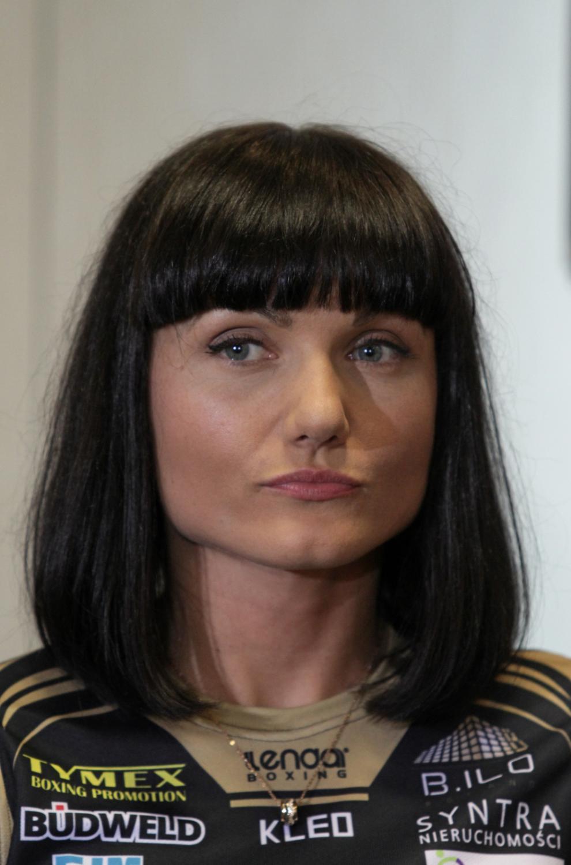 Ewa Brodnicka podczas konferencji prasowej przed galą Polsat Boxing Night w Krakowie