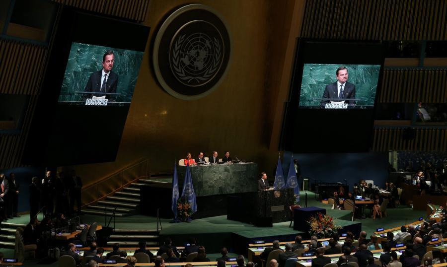 Leonardo DiCaprio przemawia w ONZ
